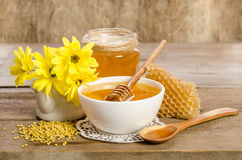 Yellow flowers and bee products honey, pollen, honeycombs Stock Image
