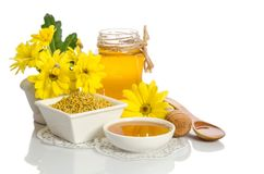 Yellow flowers and bee products honey, pollen. On white background royalty free stock photos