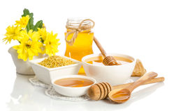 Yellow flowers and bee products & x28;honey, pollen& x29; Stock Image