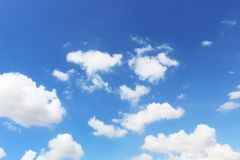 Bright blue sky with white clouds. royalty free stock images