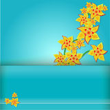 Yellow flowers on a blue background Stock Images