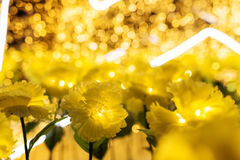 yellow flowers with bokeh for christmas Stock Photography