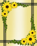 Yellow flowers border stock image