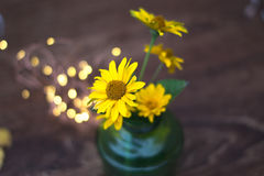 Yellow flowers in a glass jar on a wooden background. Yellow flowers in a glass jar on a wooden background stock photos