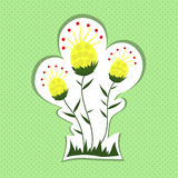 Yellow flowers on green background. Stock Images