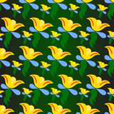 Yellow flowers on a green background vector illustration Royalty Free Stock Photography