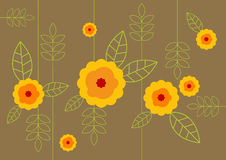 Yellow flowers with leafs. Vector Royalty Free Stock Photos