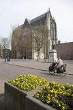Yellow flowers and man on bicycle near dom church in utrecht Royalty Free Stock Images