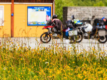 Yellow flowers and motorcycles on rest place. Travel tourism in summertime. Yellow flowers in the foreground and motorcycles on rest place in the background Royalty Free Stock Photo