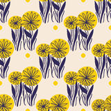 Yellow flowers pattern. Seamless yellow flowers pattern. Cute floral texture. Vector illustration Royalty Free Stock Photo