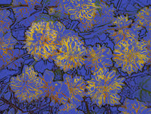 Yellow flowers on slate blue Stock Images