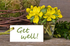 Get well. Yellow flowers, twigs and labelwith lettering get well Royalty Free Stock Photo