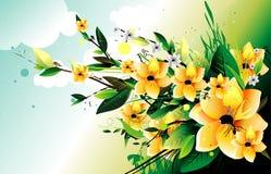 Yellow flowers vector illustration Stock Photography