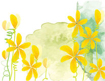 Yellow flowers vector watercolor brush design on green watercolor background Stock Photo