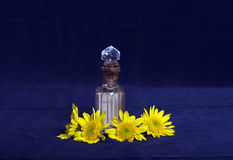 Yellow flowers and a vintage perfume bottle Stock Photo