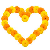 Yellow flowery heart on white Stock Photos