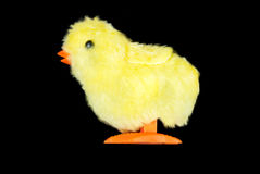 Yellow Fluffy Chick Toy, Side View Stock Photo