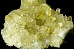 Yellow fluorite specimen detail. Royalty Free Stock Photos