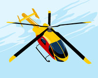 Yellow flying helicopter royalty free illustration