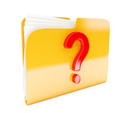 Yellow folder. 3d icon with red question mark  on white Royalty Free Stock Image