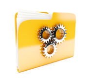 Yellow folder. 3d icon with cogwheel  on white Royalty Free Stock Photography