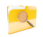 Yellow folder. 3d icon with magnifier  on white Royalty Free Stock Images