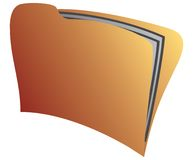 Yellow folder. There are two papers inside yellow folder Royalty Free Stock Images