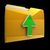 Yellow folder and arrow icon. Date download isolated on black background High resolution 3D Stock Photos
