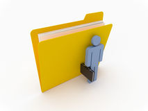 Yellow Folder With Businessman. 3D Yellow folder with blue businessman on a white background Royalty Free Stock Images