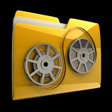 Yellow folder Cinema film roll. Icon isolated on black background High resolution 3D Royalty Free Stock Image