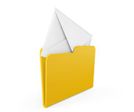 Yellow folder with closed mail envelope. On a white background Stock Photo