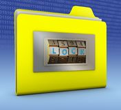 Folder with combination lock. Yellow folder with combination lock. 3d rendering Royalty Free Stock Photos
