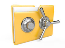 Yellow folder and combination Lock. Data security concept. Yellow folder and combination Lock. 3D image  on white Royalty Free Stock Images