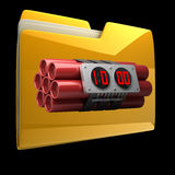 Yellow folder with Explosives alarm clock. Isolated on black background High resolution 3D Royalty Free Stock Photos