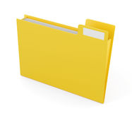 Yellow folder for files isolated on white background. 3d renderi Stock Image