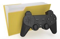 Yellow folder with gamepad Stock Photo