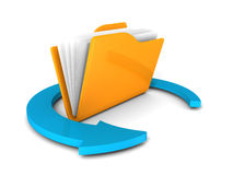 Yellow folder icon with blue round arrow on white. 3d render illustration Royalty Free Stock Images