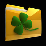 Yellow folder icon with clover Stock Photography