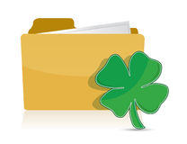 Yellow folder icon with clover illustration Stock Photography