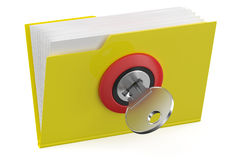 Yellow folder icon with key Royalty Free Stock Image