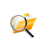 Yellow folder icon and magnifying glass Royalty Free Stock Photos