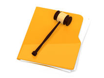 Yellow folder with judge gavel on it -  Royalty Free Stock Image