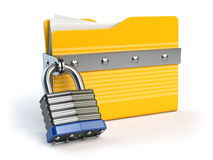 Yellow folder and lock. Data and privacy security concept. Infor. Mation protection. 3d illustration Royalty Free Stock Images
