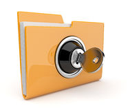 Yellow folder and lock. Data security concept. 3D. Yellow folder and lock. Data security  3D Royalty Free Stock Images