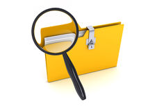Yellow folder with Magnifier over white background. Computer generated image Stock Images