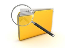 Yellow folder and magnify glass. This is a 3d rendered computer generated image.  on white Royalty Free Stock Image
