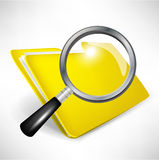 Yellow folder with magnifying glass. Document search concept Stock Photography