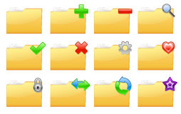 Yellow folder management and administration icons. Vector illustration of yellow interface folder management and administration icons Royalty Free Stock Photos