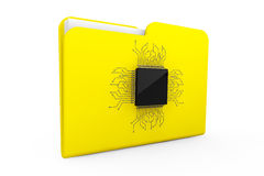Yellow Folder with Microchip Stock Image