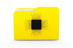 Yellow Folder with Microchip Royalty Free Stock Photography